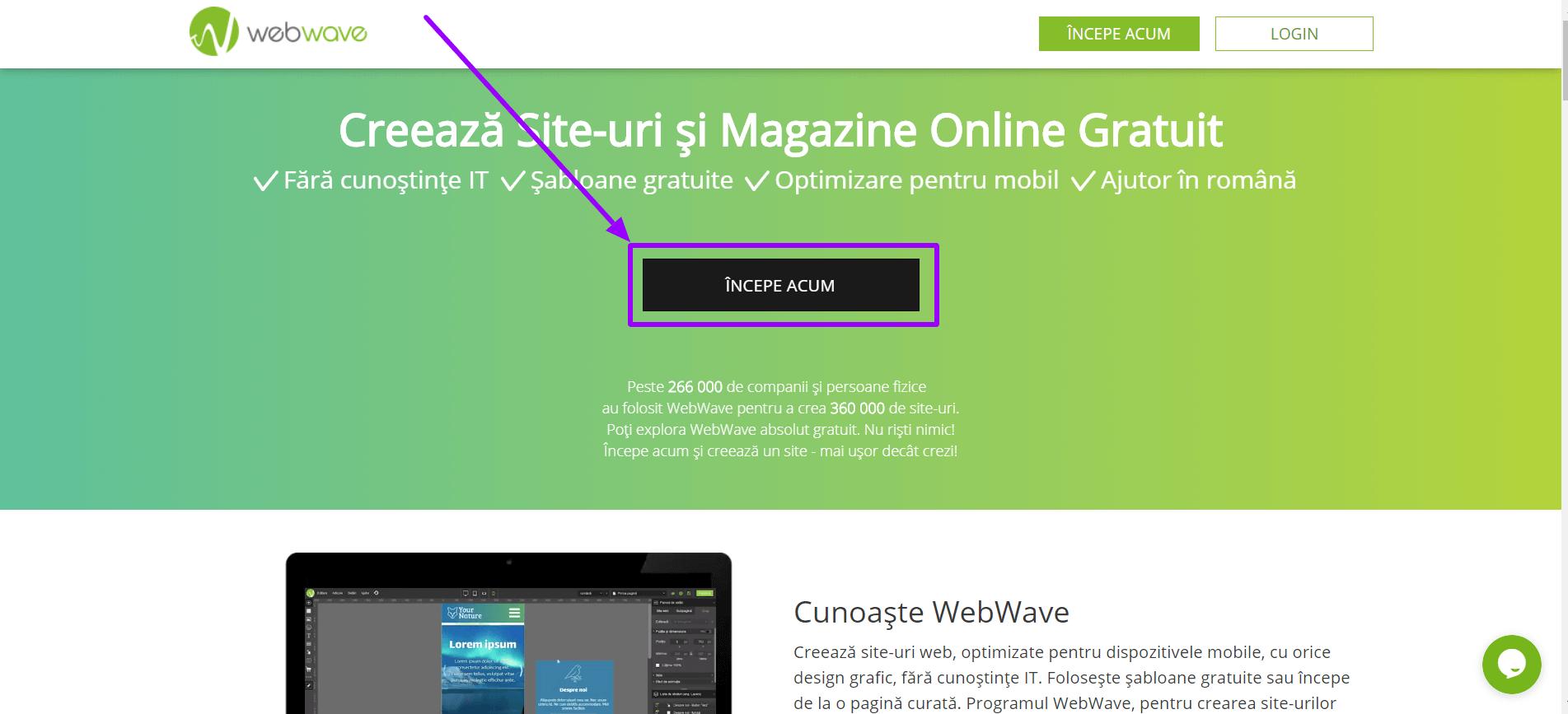 Creare rapidă a propriului site web